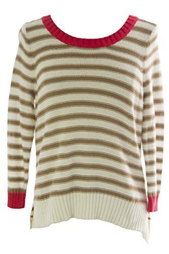 August Silk Women's Striped 3/4 Sleeve Sweater Large White Beige Combo ()