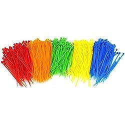 "LoveInUSA 500 Pieces 4"" Nylon Cable Ties Multi Color"