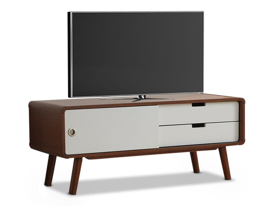 Baxton Studio Armani Mid-Century Modern Two-Tone Finish 2-Drawer with Sliding Door Wood TV Cabinet, Dark Walnut/White