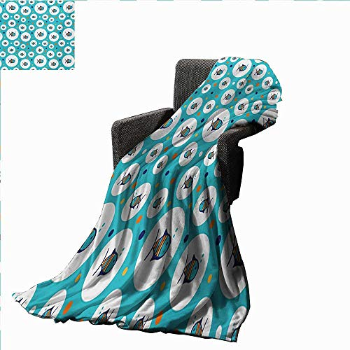 Fish Throw Blanket Colorful Spotty Pattern with Sea Animals Inside Bubble Shapes Aquarium Ocean Wildlife,Super Soft and Comfortable,Suitable for Sofas,Chairs,beds