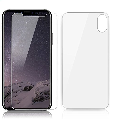 iPhone X Front and Back Glass Screen Protectors, Tempered Glass, Clear (4-Pack)