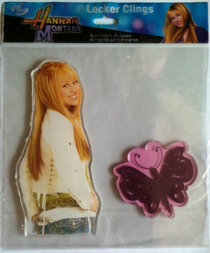 Hannah Montana Disney Locker & Window Cling Decoration MILEY CYRUS & PURPLE BUTTERFLY (6 3/4 Inches Tall)