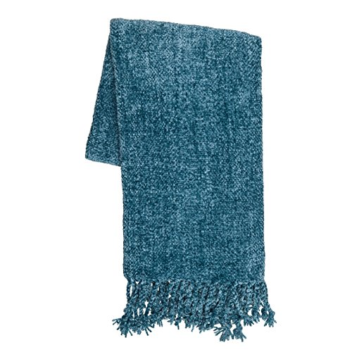 Sova by SLPR Extra Soft Chenille Throw Blanket with Fringed Edge (50' x 60', Aqua) | Decorative Throw for Bed Couch Sofa