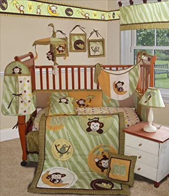 Custom Baby Bedding -jungle Monkey- Green 13 Pcs Crib Bedding from Sisi