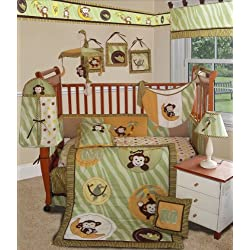 SISI Baby Bedding - Jungle Monkey Green 13 PCS Crib Bedding for boys