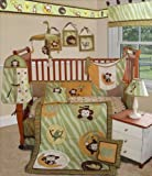 SISI Baby Bedding - Jungle Monkey Green 13 PCS Crib Bedding