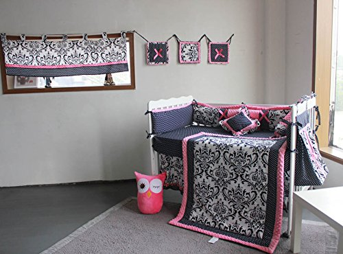 100% Cotton Crib Bedding Set Black Damask Baby Bedding 13 PCs Set, Baby Girl Bedding Set with Window Valance, Diaper Stacker, Wall Hanging 51ju8VC18bL