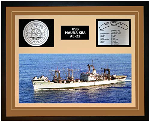 Navy Emporium USS Mauna KEA AE 22 Framed Navy Ship Display Brown