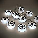 MiniSun Guirlande de 10 Ballons. Footballs en Noir et Blanc avec LED blancs. Soccer, Enfants, Noël ou les fêtes. Alimenté par pile (3 x AA) Interupteur intégré Nouveauté