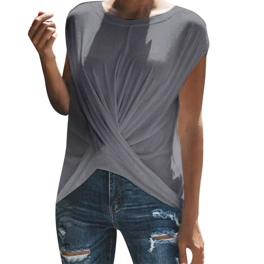 Women Blouse Sale VANSOON Fashion Solid O-Neck Dance Short Sleeve Sport Ruched T-Shirt Top for Teen Girls Gray