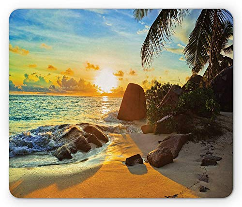 Coastal Mouse Pad, Sunset Palm Trees with Stones Shadows and Shades Waterscape Picture, Standard Size Rectangle Non-Slip Rubber Mousepad, Pale Blue Yellow Caramel,8.66 x 7.08 x 0.118 Inches