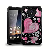 ZTE Kirk Case, Z988,ZTE Imperial MAX Case, Z963U,Grand X Max 2 Case, Max Duo Case, Beyond CellHard+Soft High Impact Rugged Case W/Built in Kickstand- 3D Hearts