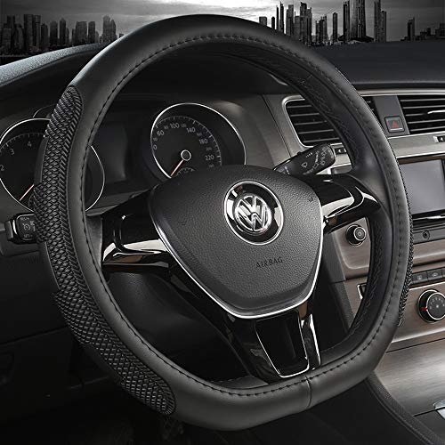 D Type Steering Wheel Cover,Anti-Slip Lines,Breathable,Durable Microfiber PU Leather Steering Wheel Cover for Car SUV Fit Diameter 14.5-15 inch Four Season Universal and Easy to Install ()