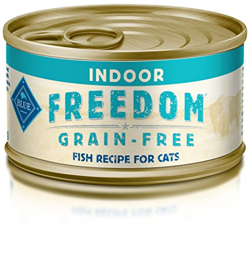 - Blue Buffalo Freedom Grain Free Natural Adult Pate Wet Cat Food, Indoor Fish 3-oz cans