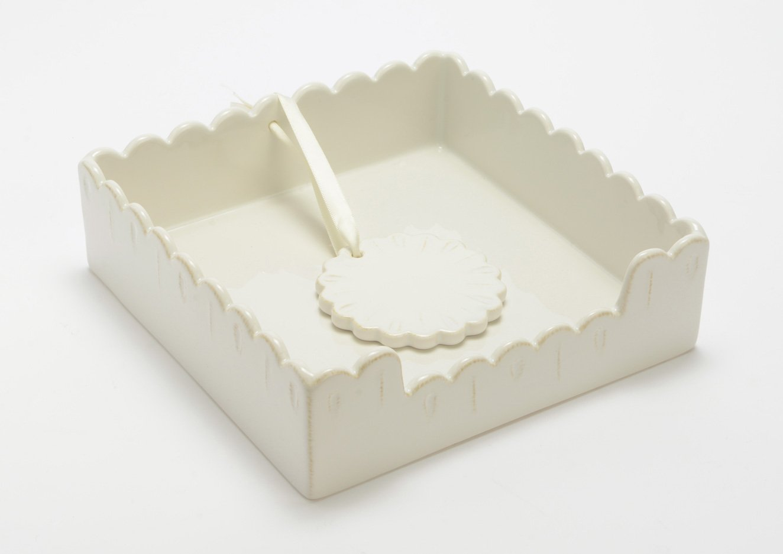 Amadeus ホワイトセラミックスクエアナプキンホルダー 重量付き Festonコレクション   B075PRWQTZ