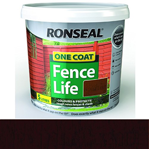 Ronseal RSLFLDO4LAV 5 Litre One Coat Fencelife Paint - Dark Oak