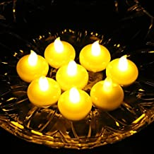 Acmee Battery Included LED Floating Tealight Waterproof Flameless Candle for Festival Party Wedding (Yellow, Pack of 12)