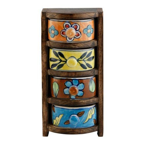 Curios 4 Drawer Brown Wood Apothecary (Nine Apothecary Drawers)