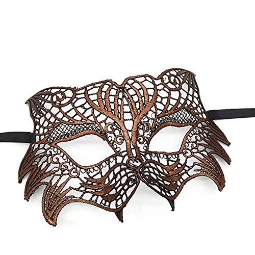 Partyfareast Tiger Mask Masquerade Sexy Lace Eye Mask For Costume Party (Brown-014)]()