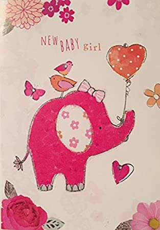 Embellished New Baby Girl Congratulations Card 1