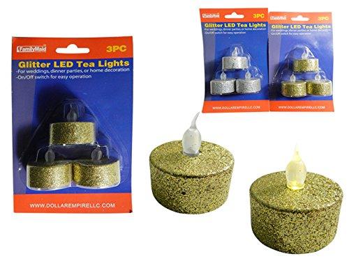 DollarItemDirect 3PC Glitter LED Tealights Gold, Silver Asst, Case of 96