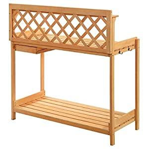 Giantex Solid Wood Potting Bench Outdoor Garden Work Bench Station Planting