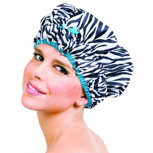 Betty Dain Sassy Stripes Shower Cap, Zebra Print/Teal Trim
