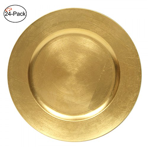 (Tiger Chef 13-Inch Gold Metallic Charger Plates, Set of 2,4,6, 12 or 24 Dinner Chargers (24-Pack))