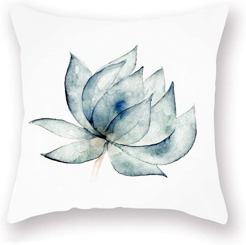 Smilyard Lotus Flower Throw Pillow Covers Summer Floral Decorative Pillow Covers White Super Soft Cushions Covers Outdoor Sofa Home 18x18 Inch Watercolor Pattern St 15 Home Kitchen