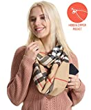 Travel Pocket Plaid Infinity Scarf - Cashmere Camel Christmas Women Men Convertible Zipper Hidden Scarf Christmas Buffalo Scarves Security Travel Passport Purse Fashion Scarfs For Spring Winter