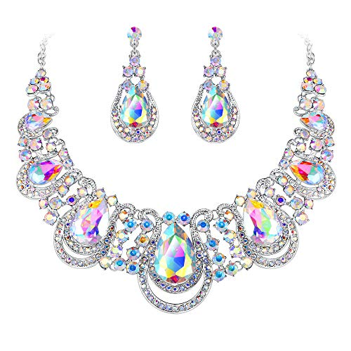 (BriLove Costume Fashion Jewelry Set for Women Crystal Teardrop Hollow Scroll Statement Necklace Dangle Earrings Set Iridescent AB Silver-Tone)