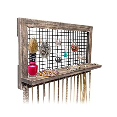 SoCal Buttercup Rustic Jewelry Organizer Wall Mounted from Wooden Wall Mount Holder for Earrings, Necklaces, Bracelets, and Many Other Accessories