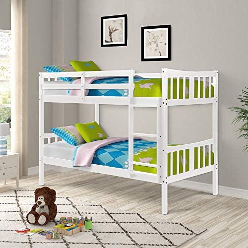 Solid Wood Twin Over Twin Bunk Beds White with Ladder and Guard Rail for Kids/Teens/Children/Adults