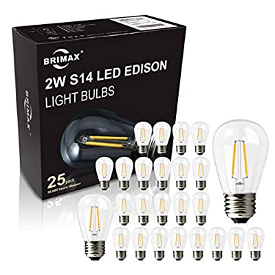 BRIMAX - (25PACK) - LED Outdoor Edison Light Bulbs for String Light Replacement, E26 Medium Screw Base, Dimmable, 2700K,Weatherproof