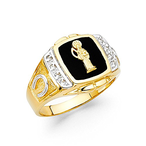 FB Jewels 14K Yellow Gold Simulated Onyx Santa Muerte Death Saint Mens Ring Size 9 ()