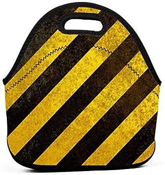 Bolsas de almuerzo de neopreno con rayas amarillas y negras ...