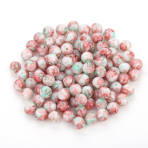 rble Design Various Color Round Loose Beads Lampwork Glass Bead for Jewelry Making Craft,8mm Diameter (Sanguine & Green) (Multi Color Lampwork Glass)