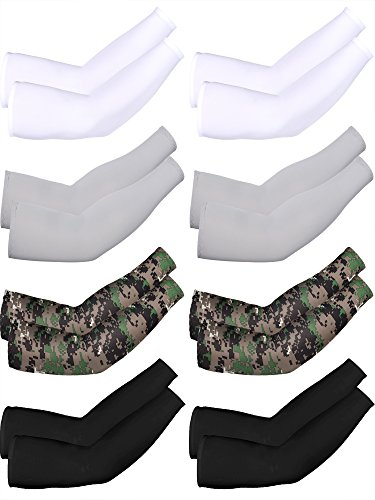 Mudder 8 Pairs Unisex UV Protection Arm Cooling Sleeves Ice Silk Arm Cover(White Black Grey Camouflage)