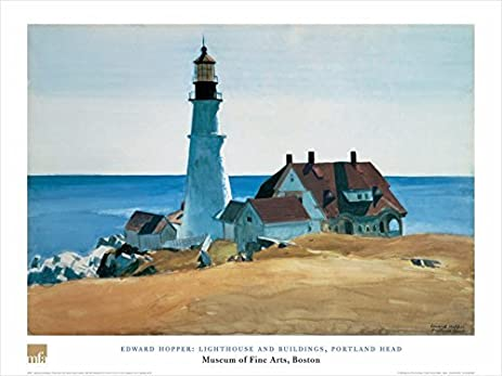 Lighthouse And Buildings Portland Head By Edward Hopper 24x32 Art Print Poster Famous Painting Coastal