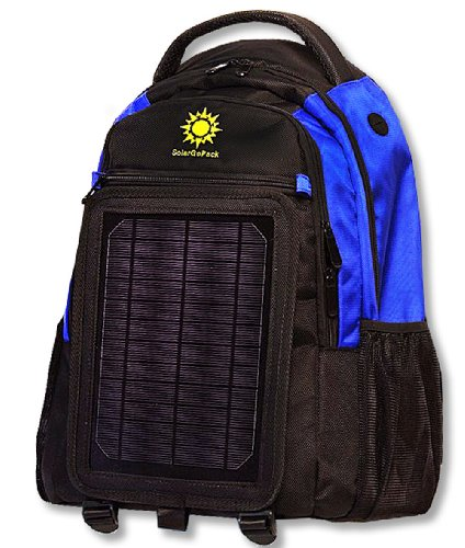SolarGoPack solar powered backpack, charges mobile devices, Take Your Power with You, 12k mAh L-ion Battery, Black & Blue -- Stay Charged my Friends ..