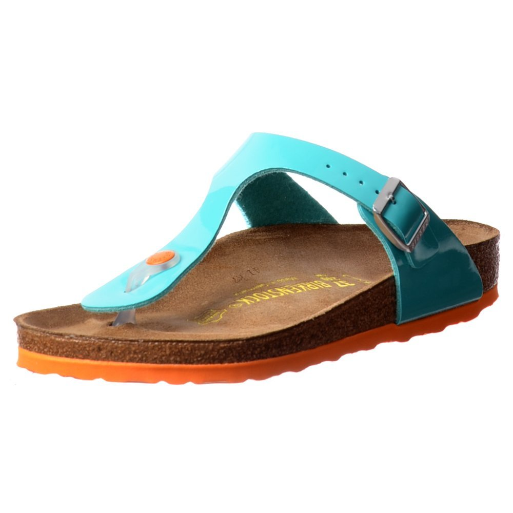 Birkenstock Classic Gizeh BirkoFlor -Standard Fitting Buckled Toe Post Thong Style - Flip Flop Sandal Ice Pearl Onyx UK6 - EU39 - US8 - AU7 Ocean Green
