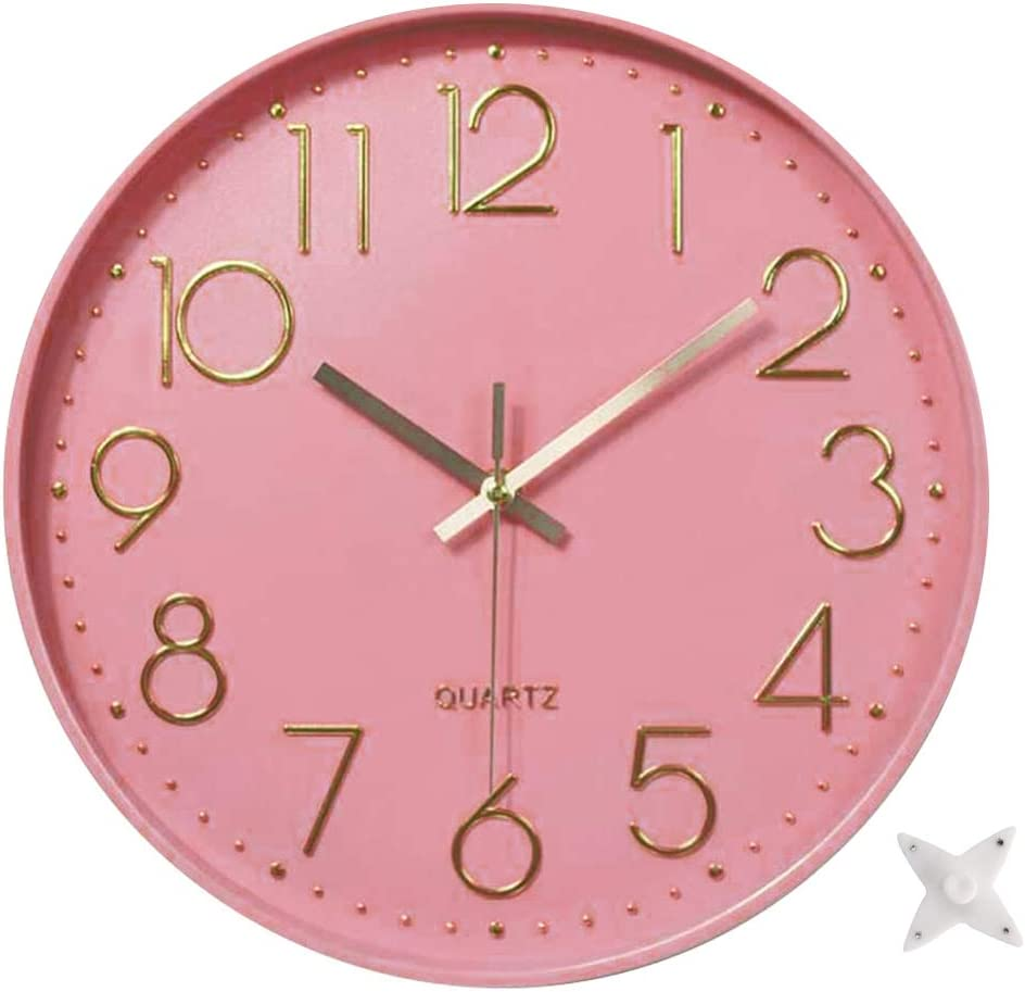 Ytaons 12 in Wall Clock Non-Ticking Quartz Silent Battery Operated Round Clocks Home Kitchen Office School Living Room Decor Clocks (Pink-Rose)
