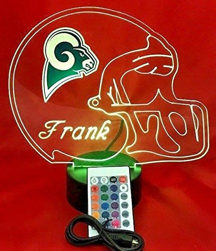 Los Angeles Rams NFL Light Lamp Light Up Hand Crafted Football Helmet Table Lamp LED With Remote, Our Newest Feature - It's WOW, With Remote 16 Color Options, Dimmer, Free Engraving, Great Gift (Helmet Rams Lamp)