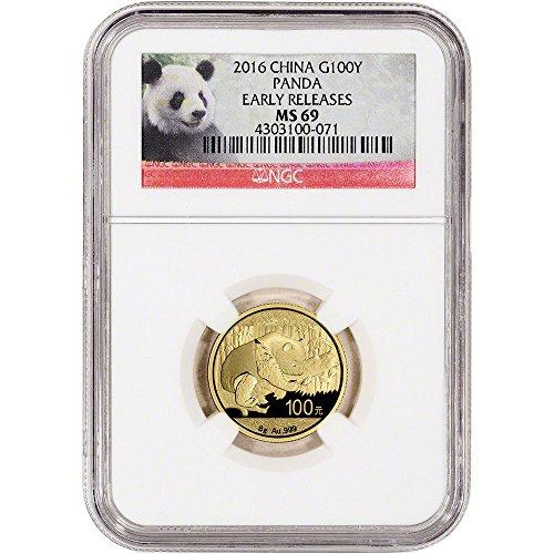 2016 CN China Gold Panda (8 g) Early Releases Panda Label 100 Yuan MS69 (0.25 Ounce Panda Coin)