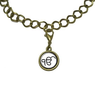 Amazon ek onkar ik onkar charm with chain bracelet jewelry ek onkar ik onkar charm with chain bracelet aloadofball Choice Image