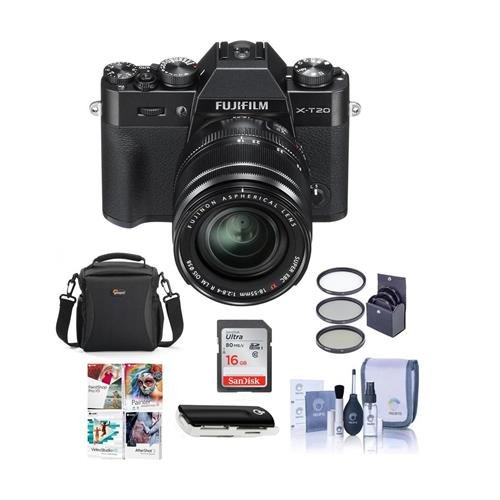 Fujifilm X-T20 Mirrorless Digital Camera Body, with XF 18-55mm F2.8-4 R LM OIS Lens, Black – Bundle with Camera Case, 16GB SDHC Card, 58mm Filter Kit, Cleaning Kit, Card Reader, Software Package