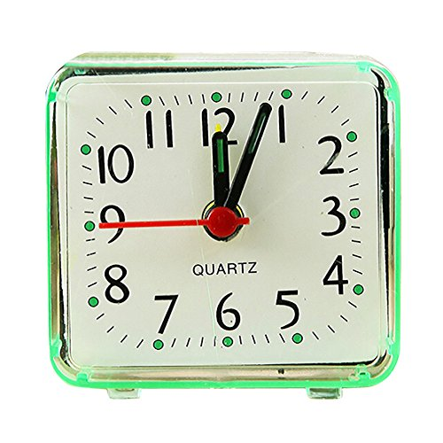 FeiFei66 Creative Fashion Student Clock Square Small Bed Compact Travel Quartz Beep Alarm Clock Cute Portable 5.8x5.5cm (Green)