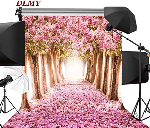 DLMY 5x7ft Cherry Blossoms Street Photography Backdrop,Photo Background for Wedding Party Decorations Studio Props (Cherry Blossoms) ()