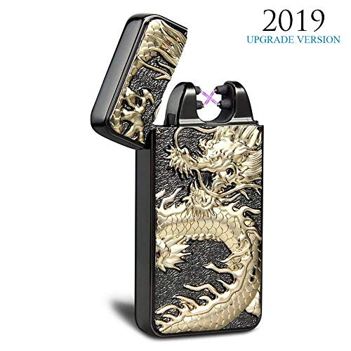 Kivors Dual Arc Plasma Lighter USB Rechargeable Windproof Flameless Butane Free Electric Chinese Dragon Loong Lighter for Cigar,Candle (Black) ()