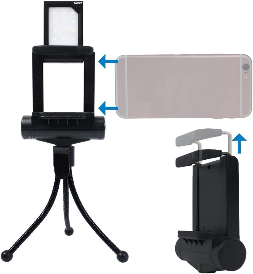 AGG2072 LimoStudio Smart Phone Selfie Accessories Bundle in The Hardshell Carry Bag Kit Water Proof Bag LED Light Cellphone Holder Cleaning Cloth Bluetooth Remote Selfie Stick GoPro Adapter